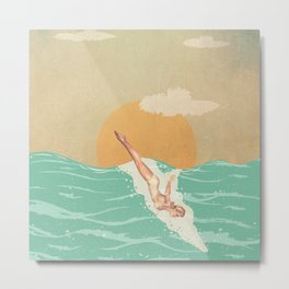 Girl Dive Vintage Metal Print