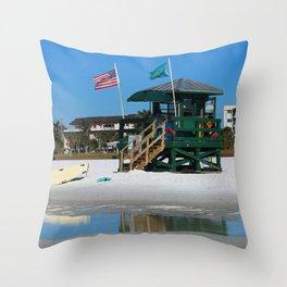 Welcome To Siesta Key Beach Throw Pillow