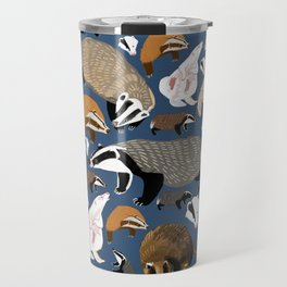 Eurasian badgers pattern Blue Travel Mug