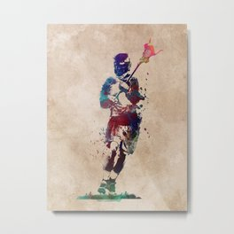 Lacrosse player art 2 Metal Print