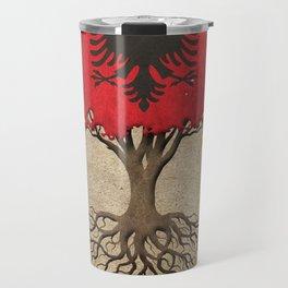Vintage Tree of Life with Flag of Albania Travel Mug