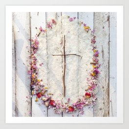 """He is Risen"" Cross Art Print"