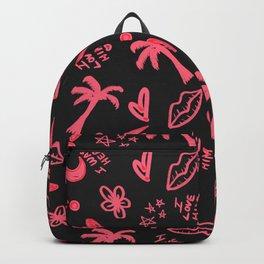 Retro Neon Pink Black High School Doodles Backpack