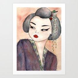 apricot geisha ~ ფორთოხლის გეიშა Art Print