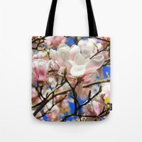 magnolia Tote Bags featuring  Magnolia. by Assiyam