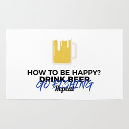 Be Happy Drink Beer Go Fishing Design Rug