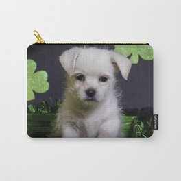 White Mixed Breed Puppy Sitting in a Green St. Patrick's Day Basket Carry-All Pouch