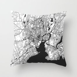 New Haven Map Gray Throw Pillow