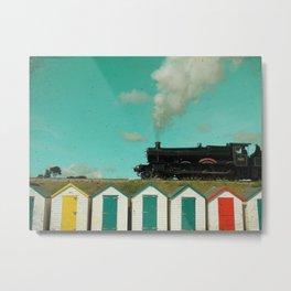 Steam Train Beach Huts Metal Print