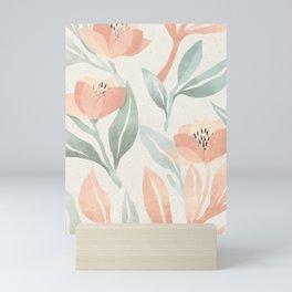 Pastel Salmon Pink Tulips Mint Leaves Floral Pattern Mini Art Print