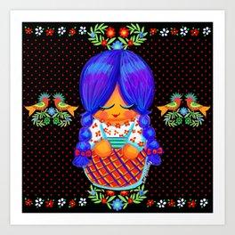Blue Braids Art Print