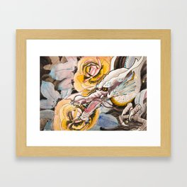 Water Color Dragon and Peonies Framed Art Print