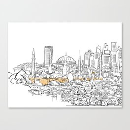 Modern and old Istanbul panorama drawing Canvas Print