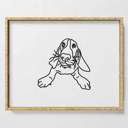 Basset Hound Dog (b/w) Serving Tray