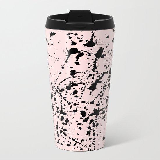 Splat Black on Pink Metal Travel Mug
