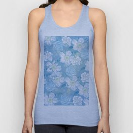 Blue Vintage Rose Pattern Unisex Tank Top