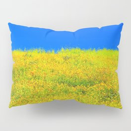 yellow poppy flower field with green leaf and clear blue sky Pillow Sham