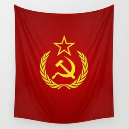 Hammer and Sickle Textured Flag Wall Tapestry