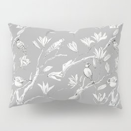Magnolia flower and birds ink-pen drawing Pillow Sham