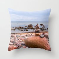 geology Throw Pillows featuring At the beach by UtArt