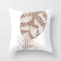 feather Throw Pillows featuring The Solitary Feather by Sandra Ireland