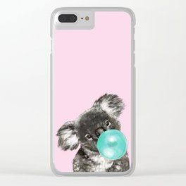 Playful Koala Bear with Bubble Gum in Pink Clear iPhone Case