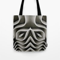 exo Tote Bags featuring Exo-skelton 3D Optical Illusion by BohemianBound