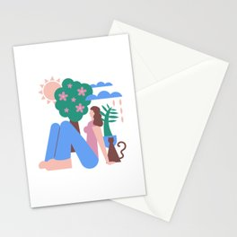 Girl with Cat and Tree Graphic Stationery Cards