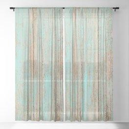 shabby chic beach summer beige aqua blue green teal wood grain Sheer Curtain