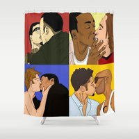 movies Shower Curtains featuring Just Like the Movies by Indigo Blues