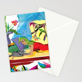 """Garden of Dreams"" Paulette Lust's contemporary, original, colorful, whimsical, art. Stationery Cards"
