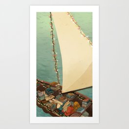 Boats and Books Art Print