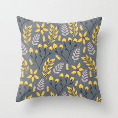 Mod Floral Yellow on Gray Throw Pillow
