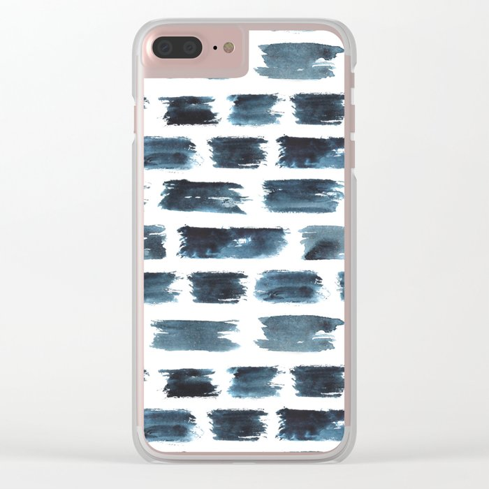 Indigo brushstrokes Clear iPhone Case