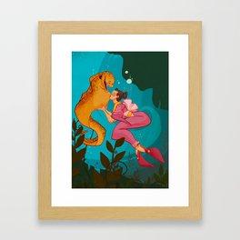A girl and her eel Framed Art Print