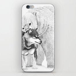 Eskimo dog and Polar bear pointillism illustration iPhone Skin