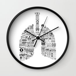 Pneuma -Vintage Respiratory Remedies - original lungs print- gift for doctor - respiratory therapist Wall Clock