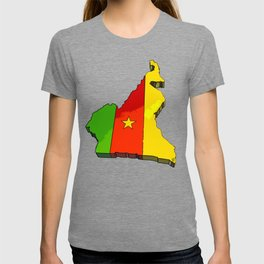 Cameroon Map with Cameroonian Flag T-shirt