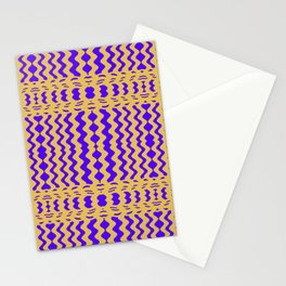Bright Purple Yellow Wavy Lines Stationery Cards