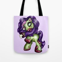 my little pony Tote Bags featuring Zombie My Little Pony by Hungry Designs