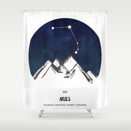 Astrology Aries Zodiac Horoscope Constellation Star Sign Watercolor Poster Wall Art Shower Curtain