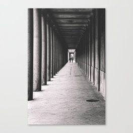 Arcade with columns in Copenhagen, architecture black and white photography Canvas Print