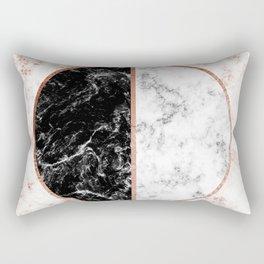Marble black and white circle Rectangular Pillow