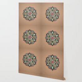 Tribal Geometric brown and green Mandala Wallpaper