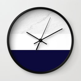 Marble Royal Blue White Color Block Modern Geometry Wall Clock
