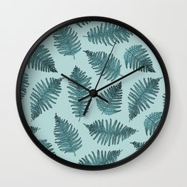 Blue fern garden botanical leaf illustration pattern Wall Clock
