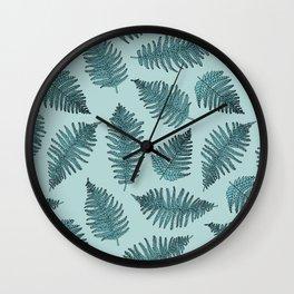 Blue fern garden botanical leaf illustration pattern Wall Clock