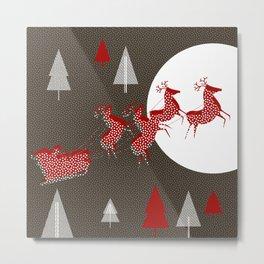 Flying Santa Metal Print