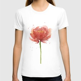 Red Flower Watercolor Floral Painting T-shirt