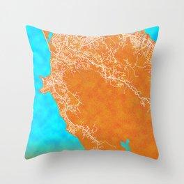 Freetown, Sierra Leone, Gold, Blue, City, Map Throw Pillow